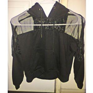 Black hoodie with mesh strip NWOT